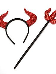 Недорогие -Дьявол Товары для Хэллоуина Муж. Украшения для волос Хэллоуин Хэллоуин Фестиваль / праздник Пластик Красный Муж. Жен. Карнавальные костюмы