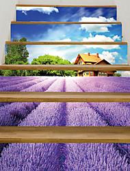 billige -lavendel trapp klistremerker - dekorative veggklistremerker landskap / blomster / botanisk stue / soverom / kjøkken