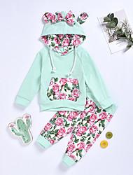 billige -Baby Jente Aktiv / Grunnleggende Ensfarget / Blomstret / Trykt mønster Sløyfe / Trykt mønster Langermet Normal Normal Tøysett Blå