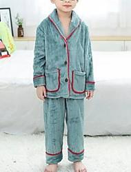 Недорогие -Дети Мальчики Однотонный Пижамы Зеленый