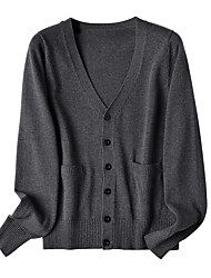cheap -Women's Cardigan Solid Color Pocket Knitted Button Cotton Casual Long Sleeve Sweater Cardigans Fall Winter Spring V Neck Light Pink Navy Wine Red