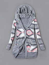 cheap -Women's Cardigan Multi Color Long Sleeve Sweater Cardigans Hoodie Gray Green Ashes Orange strips