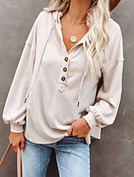 cheap -Women's Pullover Solid Color Long Sleeve Sweater Cardigans Hooded Blue Red Wine Gray
