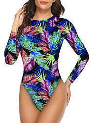 cheap -Women's Rash Guard Diving Swimsuit Open Back Print Rainbow Swimwear High Neck Padded Bathing Suits Sexy New / Padded Bras / Going out / Slim