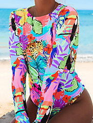 cheap -Women's Rash Guard Diving Swimsuit Fruit Print Blushing Pink Green Swimwear High Neck Padded Bathing Suits Sexy New / Padded Bras / Going out / Slim