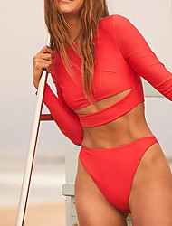 cheap -Women's Rash Guard Diving Swimsuit Solid Color Hole Yellow Red Beige Swimwear High Neck Padded Bathing Suits Fashion Sexy New / Padded Bras / Going out / Slim