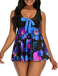 cheap -Women's One Piece Swim Dress Swimsuit Floral Bow Print Blue Fuchsia Swimwear Scoop Neck Bathing Suits Casual Vacation New / Holiday / Padded Bras / Beach