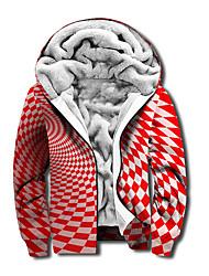 cheap -Men's Unisex Plaid Graphic Prints Full Zip Hoodie Jacket Zipper Print 3D Print Daily Sports Casual Designer Hoodies Sweatshirts  Red