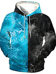 cheap -Men's Unisex Color Block Graphic Prints Pullover Hoodie Sweatshirt Print 3D Print Daily Sports Casual Designer Hoodies Sweatshirts  Blue
