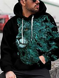 cheap -Men's Unisex Graphic Prints Lion Pullover Hoodie Sweatshirt Print 3D Print Daily Sports Casual Designer Hoodies Sweatshirts  Navy Blue