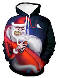 cheap -Men's Unisex Graphic Prints Santa Claus Pullover Hoodie Sweatshirt Print 3D Print Daily Sports Casual Designer Hoodies Sweatshirts  Red