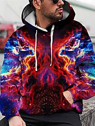cheap -Men's Unisex Smoke Graphic Prints Pullover Hoodie Sweatshirt Print 3D Print Daily Sports Casual Designer Hoodies Sweatshirts  Red
