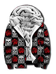 cheap -Men's Unisex Graphic Prints Skull Full Zip Hoodie Jacket Zipper Print 3D Print Daily Sports Casual Designer Hoodies Sweatshirts  Gray