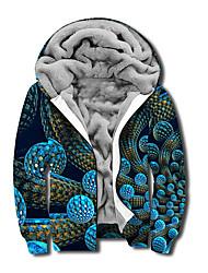 cheap -Men's Unisex Geometric Graphic Prints Full Zip Hoodie Jacket Zipper Print 3D Print Daily Sports Casual Designer Hoodies Sweatshirts  Blue