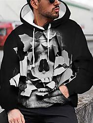 cheap -Men's Unisex Graphic Prints Skull Pullover Hoodie Sweatshirt Print 3D Print Daily Sports Casual Designer Hoodies Sweatshirts  Black