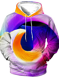 cheap -Men's Unisex Graphic Prints Spiral Pullover Hoodie Sweatshirt Print 3D Print Daily Sports Casual Designer Hoodies Sweatshirts  Purple Rainbow