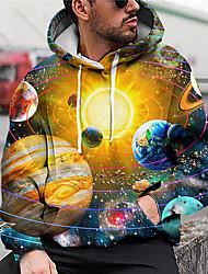 cheap -Men's Unisex Graphic Prints Galaxy Star Print Pullover Hoodie Sweatshirt Print 3D Print Daily Sports Casual Designer Hoodies Sweatshirts  Yellow