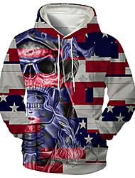 cheap -Men's Unisex Graphic Prints Skull Pullover Hoodie Sweatshirt Print 3D Print Daily Sports Casual Designer Hoodies Sweatshirts  Red