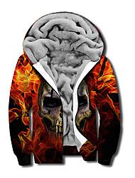 cheap -Men's Unisex Graphic Prints Skull Flame Full Zip Hoodie Jacket Zipper Print 3D Print Daily Sports Casual Designer Hoodies Sweatshirts  Orange