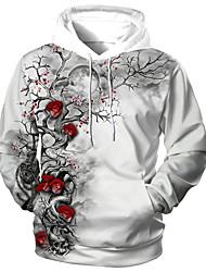 cheap -Men's Unisex Graphic Prints Flower Pullover Hoodie Sweatshirt Print 3D Print Daily Sports Casual Designer Hoodies Sweatshirts  Gray