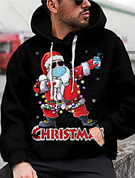 cheap -Men's Unisex Graphic Prints Santa Claus Pullover Hoodie Sweatshirt Print 3D Print Daily Sports Casual Designer Hoodies Sweatshirts  Black
