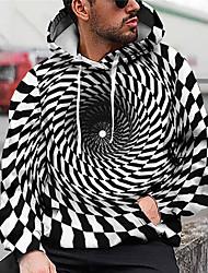 cheap -Men's Unisex Plaid Optical Illusion Graphic Prints Pullover Hoodie Sweatshirt Print 3D Print Daily Sports Casual Designer Hoodies Sweatshirts  Black