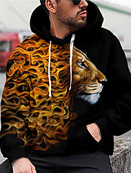 cheap -Men's Unisex Graphic Prints Lion Pullover Hoodie Sweatshirt Print 3D Print Daily Sports Casual Designer Hoodies Sweatshirts  Black