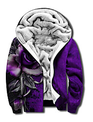 cheap -Men's Unisex Graphic Prints Rose Full Zip Hoodie Jacket Zipper Print 3D Print Daily Sports Casual Designer Hoodies Sweatshirts  Purple
