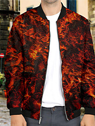 cheap -Men's Unisex Graphic Prints Flame Zip Up Sweatshirt Jacket Print 3D Print Daily Sports Casual Designer Hoodies Sweatshirts  Red