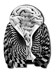 cheap -Men's Unisex Plaid Optical Illusion Graphic Prints Full Zip Hoodie Jacket Zipper Print 3D Print Daily Sports Casual Designer Hoodies Sweatshirts  Gray