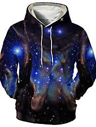 cheap -Men's Unisex Galaxy Graphic Prints Pullover Hoodie Sweatshirt Print 3D Print Daily Sports Casual Designer Hoodies Sweatshirts  Blue