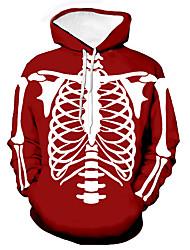 cheap -Men's Unisex Graphic Prints Skeleton Pullover Hoodie Sweatshirt Print 3D Print Daily Sports Casual Designer Hoodies Sweatshirts  Red