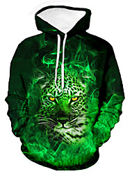 cheap -Men's Unisex Leopard Graphic Prints Pullover Hoodie Sweatshirt Print 3D Print Daily Sports Casual Designer Hoodies Sweatshirts  Green