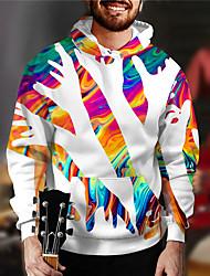 cheap -Men's Unisex Abstract Graphic Prints Pullover Hoodie Sweatshirt Print 3D Print Daily Sports Casual Designer Hoodies Sweatshirts  White Black