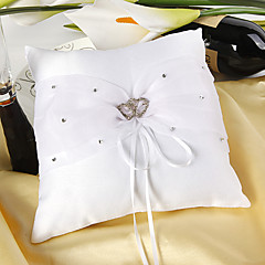 cheap Ring Pillows-Ring Pillow In White Satin With Rhinestones Double Hearts Wedding Ceremony