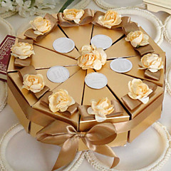 cheap Cake Boxes-Pyramid Pearl Paper Favor Holder with Ribbons Flower Favor Boxes - 10