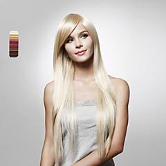 billiga Peruker och hårförlängning-Syntetiska peruker Rak Frisyr i lager Syntetiskt hår Vattenfall Naturlig Peruk Dam Lång Lång Hel-spets Dagligen