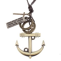 Anchor Many Parts Adjustable Leather Necklace Jewelry Christmas Gifts