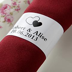 gepersonaliseerde papieren servetring - zwarte harten (set van 50) huwelijksreceptie