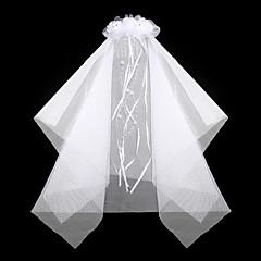 billige Flower Girl Gifts-nydelig satin / blonder med rhinestone / imitasjon perle bryllup blomsterpike slør / hodeplagg kammer