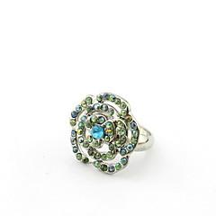 お買い得  指輪-エレガントなスタイルの調整可能なラインストーン付きの優雅な合金