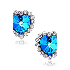 Women's Stud Earrings Synthetic Sapphire Love Luxury Synthetic Gemstones Imitation Diamond Alloy Heart Star Jewelry For Daily