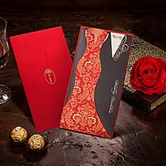 billige Bryllupsinvitasjoner-Sjal & Lomme Bryllupsinvitasjoner Invitasjonskort Brud & Brudgom Stil Kort Papir 8.5*4.5 tommer (ca. 21.5*11.5cm)