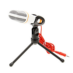 cheap Microphones-666 3.5mm stereo plug Bracket Hoge kwaliteit KTV microfoon (Wit) Wired Karaoke Microphone