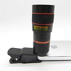 Universal 8x Teleobjektiv mit Clip für Mobiltelefon iphone Samsung HTC Smartphone-rot + schwarz