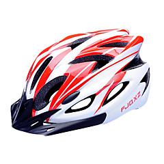 FJQXZ EPS + PC vermelho e branco Integralmente-moldados Capacete de Ciclismo (18 Vents)