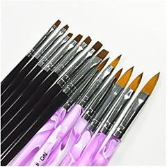 13 ADET Siyah ve Mor Renkli Boyama Çizim Nail Art Pen & Manikür UV Jel ve Yanlış İpuçları Akrilik için Fırçalar Set