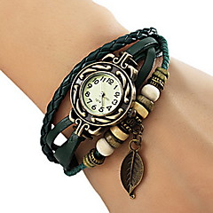 cheap -Women's Watch Bohemian Strap Watch Leaf Pendent Leather Weave Bracelet Cool Watches Unique Watches Fashion Watch