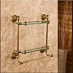 Badezimmer Regal / Antike Bronze Glas /Antik