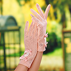 cheap Party Gloves-Lace Wrist Length Glove Bridal Gloves Party/ Evening Gloves General Purposes & Work Gloves With Bowknot